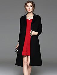 CELINEIA Women's Formal Simple CoatSolid Peaked Lapel Long Sleeve Fall / Winter Black / Green Wool Opaque
