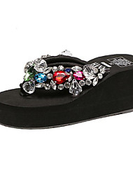 Women's Slippers & Flip-Flops Summer Flip Flops Leatherette Outdoor Platform Crystal Black / White Others