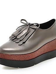 Damen-Loafers & Slip-Ons-Kleid-Kunstleder-Plateau-Komfort-Schwarz Champagner