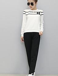 Damen Druck Aktiv Sport T-shirt Hose Anzüge,Rundhalsausschnitt Herbst Langarm Rot / Weiß / Schwarz Baumwolle Undurchsichtig
