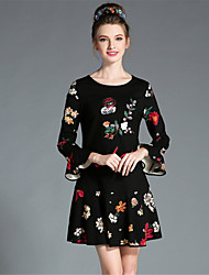 aufoli Art und Weise Frauen plus Größe Vintage Eleganz Pailletten flare Hülse Druckkleid