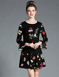 AUFOLI Fashion Women Plus Size Vintage Elegance Sequins Flare Sleeve Print Dress