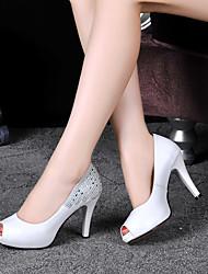 Damen-High Heels-Lässig-Leder-Stöckelabsatz-Pumps-Schwarz / Weiß