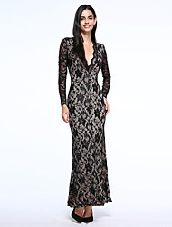Women's Black Plunge V Lace Maxi Dress with Scoop Back