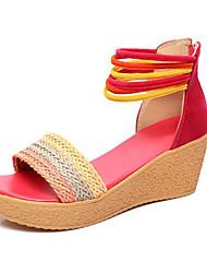 Damen Sandalen Komfort Polyester Sommer Normal Komfort Keilabsatz Fuchsia Kamel 5 - 7 cm