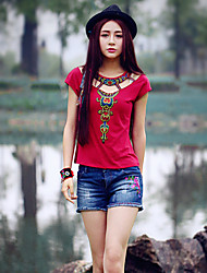 Our Story Going out Vintage Summer T-shirtEmbroidered Round Neck Short Sleeve Red Cotton / Spandex Medium