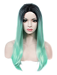 IMSTYLE 22Long Straight Retro Mint Dark Root Synthetic Machine Wig No Lace Wig