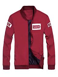 Men's Long Sleeve Casual / Sport JacketPolyester Letter Black / Blue / Red / Gray
