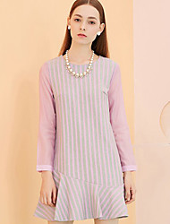 I'HAPPY Women's Going out Simple Sheath DressStriped Round Neck Above Knee Long Sleeve Purple