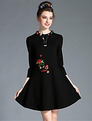 AUFOLI New Plus Size Women Fashion Vintage Bead Embroidery 3/4 Sleeve A-Line Dress