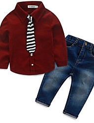 Boy's Casual/Daily Solid Jeans / Clothing SetCotton Spring / Fall Blue / Red