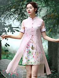 Our Story Women's Going out Chinoiserie Sheath DressFloral Stand Above Knee Short Sleeve Pink Polyester Summer