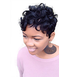 Mujer Pelo humano pelucas sin tapa Negro Corto Liso Liso Natural Corte Pixie Corte a capas Peluca afroamericana