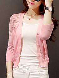 Для женщин Длинный Кардиган Однотонный,Розовый Белый Черный V-образный вырез Длинный рукав Шерсть Другое Осень Тонкая Слабоэластичная