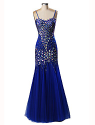 Mermaid / Trumpet Spaghetti Straps Floor Length Satin Tulle Formal Evening Dress with Beading