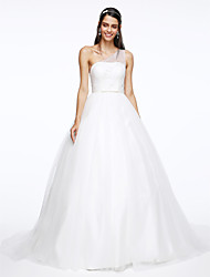 A-line One Shoulder Court Train Tulle Wedding Dress with Sequin Side-Draped by LAN TING BRIDE®