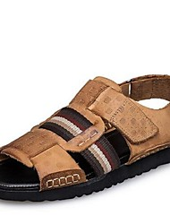 Men's Sandals Summer Sandals Leather Casual Flat Heel Others Black / Beige Others