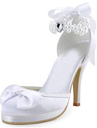 Damen-Flache Schuhe-Hochzeit / Kleid / Party & Festivität-Stretch - Satin-Stöckelabsatz-Absätze / Plateau-Rot / Elfenbein / Weiß