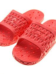 Damen-Slippers & Flip-Flops-Lässig-PVC-Flacher Absatz-Fersenriemen-Rot
