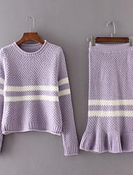 Women's Casual/Daily Simple Fall Set SkirtStriped Crew Neck Long Sleeve Black / Purple Cotton Medium