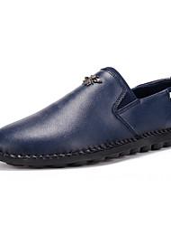 Men's Loafers & Slip-Ons Spring / Fall Comfort PU Casual Flat Heel Slip-on Black / Blue / Orange Sneaker