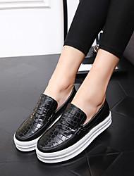 Damen-Loafers & Slip-Ons-Lässig-Leder-Flacher Absatz-Komfort-Schwarz