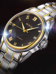 BOSCK® Men's  Automatic Mechanical Hollow Dial Calendar Silver Gold Steel Band Wrist Dress Watch