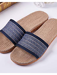Men's Slippers & Flip-Flops Summer Slingback Linen Casual Flat Heel Dark Blue Brown Blue Navy coffee