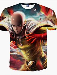 Masculino Camiseta Poliéster Estampado Manga Curta Casual / Formal / Esporte-Vermelho