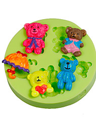 Cake Tools Parasol Teddy Bear Family Silicone Fondant Mold Cake Decorating Tools for Chocolate Cupcake Candy Clay Making