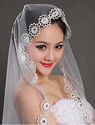 Wedding Veil One-tier Blusher Veils / Elbow Veils / Fingertip Veils Lace Applique Edge Tulle Ivory Ivory
