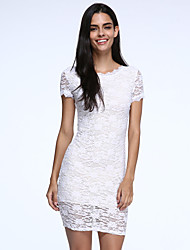 Women's  Lace Nude Illusion Fringe Trim Dress