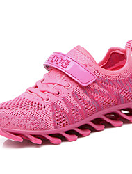 Girl's Athletic Shoes Spring Fall Comfort Tulle PU Athletic Flat Heel Lace-up Magic Tape Pink