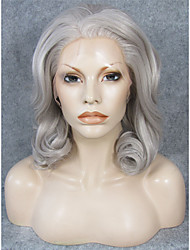 IMSTYLE 16 Natural Looking Mix Gray Wave Synthetic Lace Wig Front Lace Hair