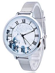 Women/Lady's Gold/Silver Steel Thin Band White Round Case Analog Quartz Fashion Watch