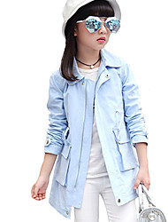 Girl's Casual/Daily Solid Trench CoatCotton Fall Blue / Green / Pink