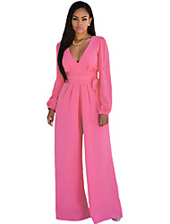 Women's Belted Long Sleeves Jumpsuit