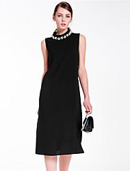 Goelia® Damen Rundhalsausschnitt Ärmellos Knielänge Kleid-167R4A280