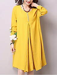 Women's Vintage Solid Loose Dress,Round Neck Knee-length Cotton