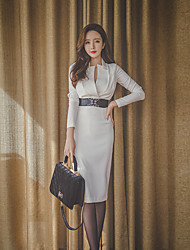 Women's Work Simple Sheath DressSolid Stand Above Knee Long Sleeve White