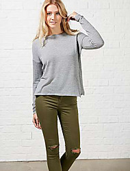 Women's Patchwork Gray T-shirt , Round Neck Long Sleeve