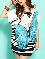 женская бабочка печати мини-платье свободно
