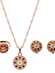 Lucky Doll Women's Alloy Rhinestone Rose Gold Plated Necklace & Earrings & Ring Jewelry Sets
