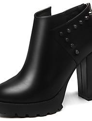 Women's Heels Winter Heels Leatherette Wedding / Party & Evening / Dress Chunky Heel Rivet Black / Burgundy Others