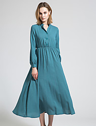 BORME Women's V Neck 3/4 Length Sleeve Tea-length Dress-Y034