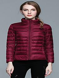 Women's Solid White / Black / Purple Down CoatSimple Stand Long Sleeve