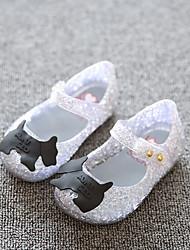 Girls' Baby Flats PVC Spring Summer Fall Casual Flat Heel Black Silver Blushing Pink Flat