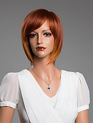 средние прямые боб монолитным парики с челкой человеческих волос смешанный цвет 14 дюймов