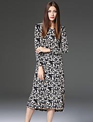 CELINEIA Women's Work Vintage Sheath DressJacquard Round Neck Knee-length Long Sleeve Black