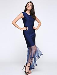 Damen Trompete/Meerjungfrau Kleid-Party/Cocktail Sexy Solide Rundhalsausschnitt Asymmetrisch Ärmellos Blau / Rot / WeißPolyester /
